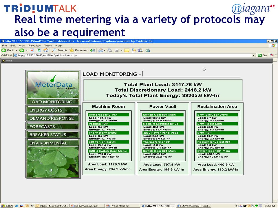 12 Real time metering via a variety of protocols may also be a requirement