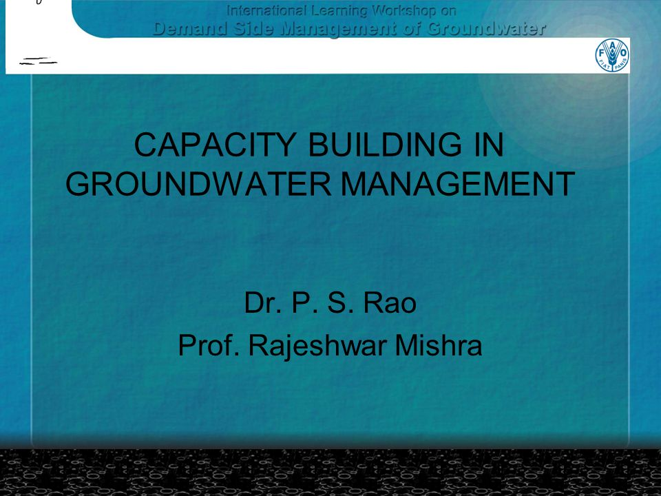 CAPACITY BUILDING IN GROUNDWATER MANAGEMENT Dr. P. S. Rao Prof. Rajeshwar Mishra