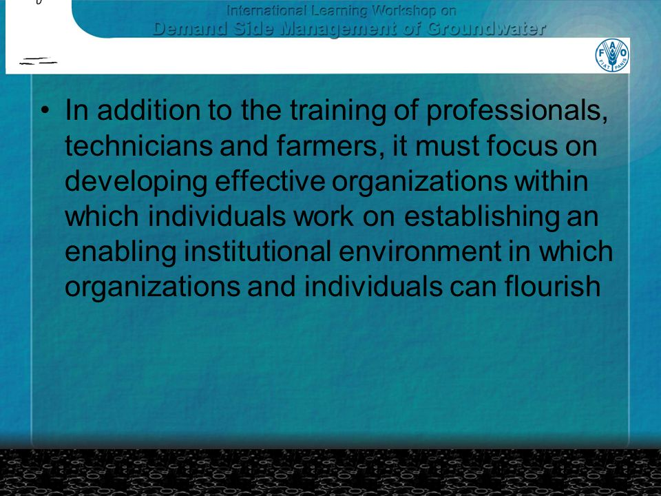 In addition to the training of professionals, technicians and farmers, it must focus on developing effective organizations within which individuals work on establishing an enabling institutional environment in which organizations and individuals can flourish