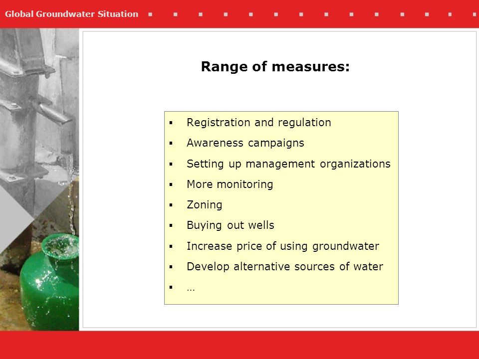 Global Groundwater Situation Registration and regulation Awareness campaigns Setting up management organizations More monitoring Zoning Buying out wells Increase price of using groundwater Develop alternative sources of water … Range of measures: