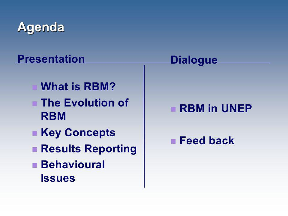 Agenda Presentation What is RBM? The Evolution of RBM Key Concepts Results Reporting Behavioural Issues Dialogue RBM in UNEP Feed back