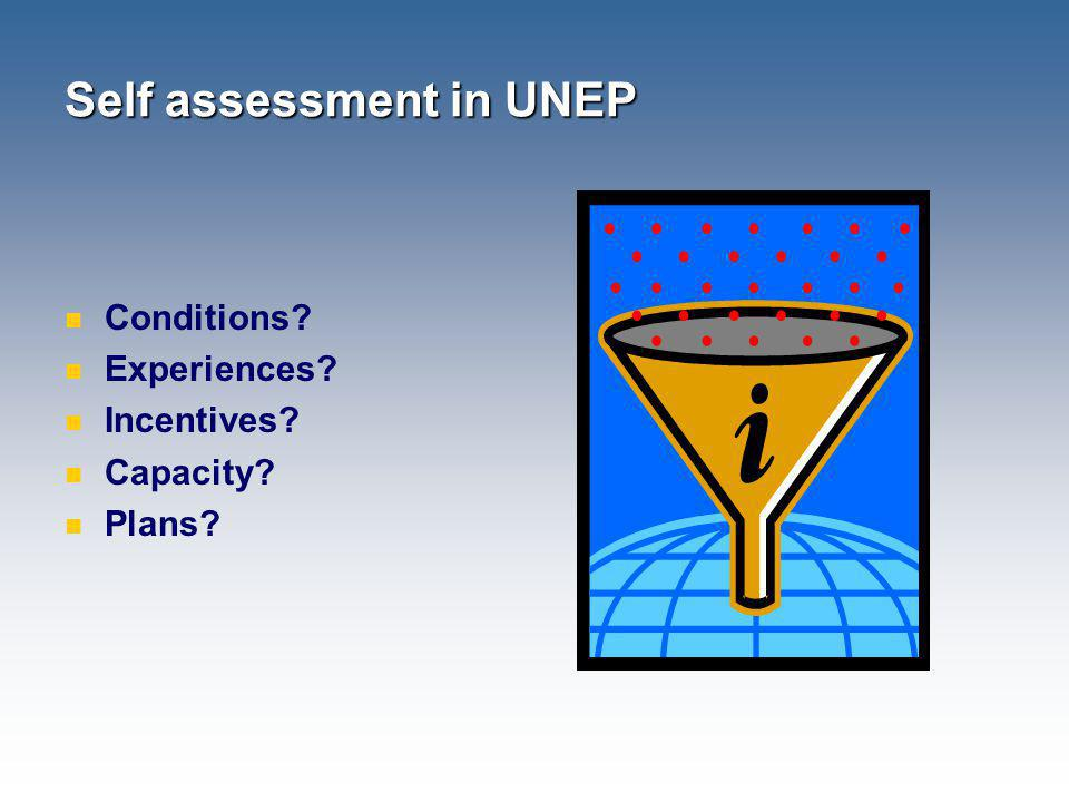 Self assessment in UNEP Conditions? Experiences? Incentives? Capacity? Plans?