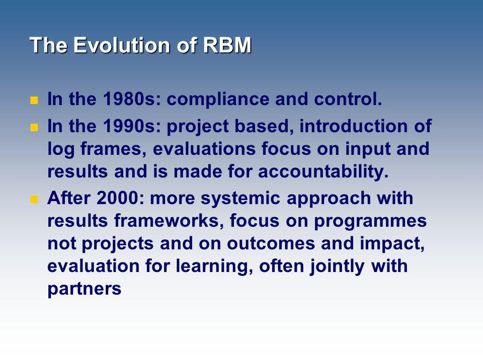 The Evolution of RBM In the 1980s: compliance and control. In the 1990s: project based, introduction of log frames, evaluations focus on input and res