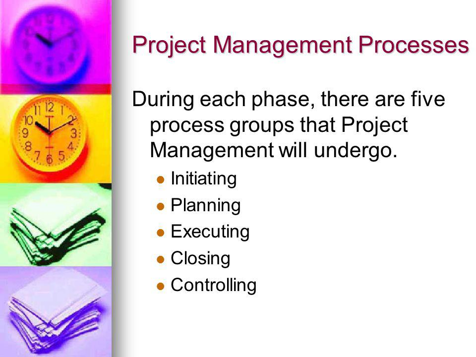 Project Management Processes During each phase, there are five process groups that Project Management will undergo. Initiating Planning Executing Clos