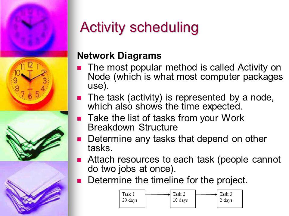 Activity scheduling Network Diagrams The most popular method is called Activity on Node (which is what most computer packages use). The task (activity