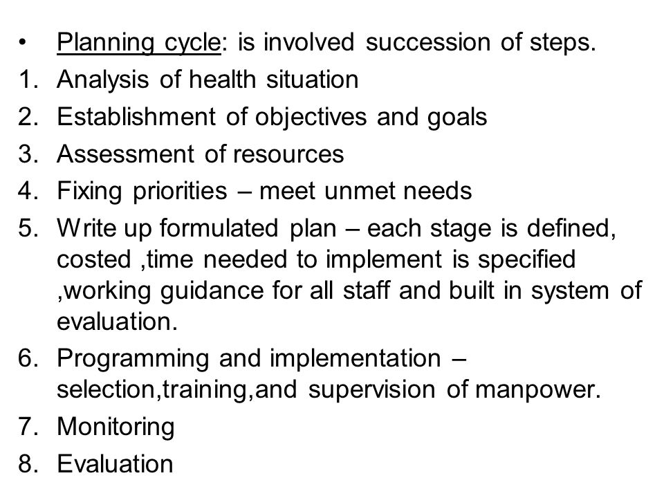 Formulate health problems Fix priorities Formulate Individual problems Define objectives Assign priority Among objective Design alternate plan Implement plan Train workers Operate the programme Collect data for evaluation Evaluation result satisfactory yes no Planning cycle