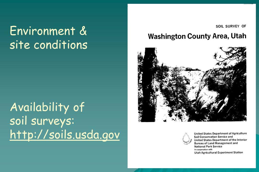 Environment & site conditions Availability of soil surveys: http://soils.usda.gov