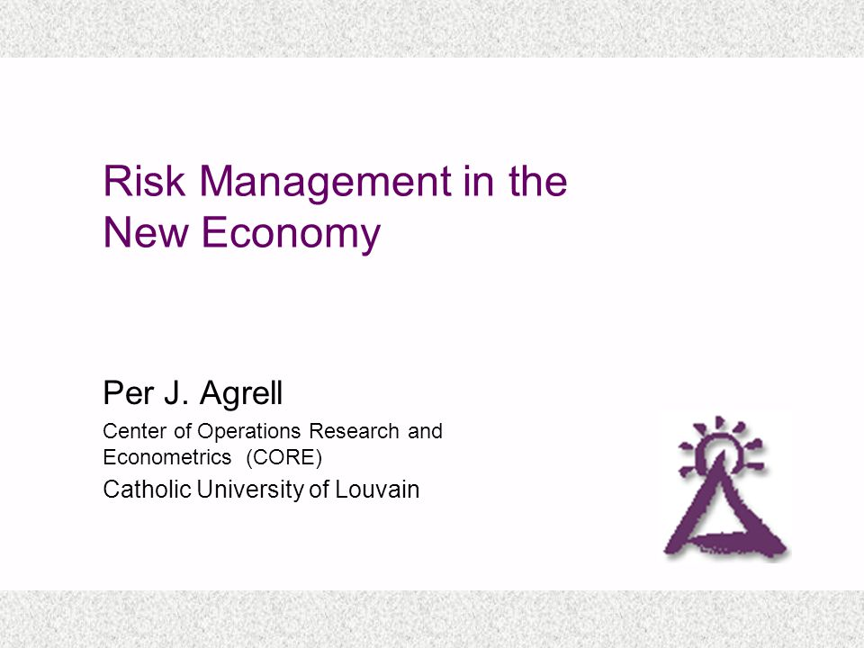 Risk Management in the New Economy Per J.