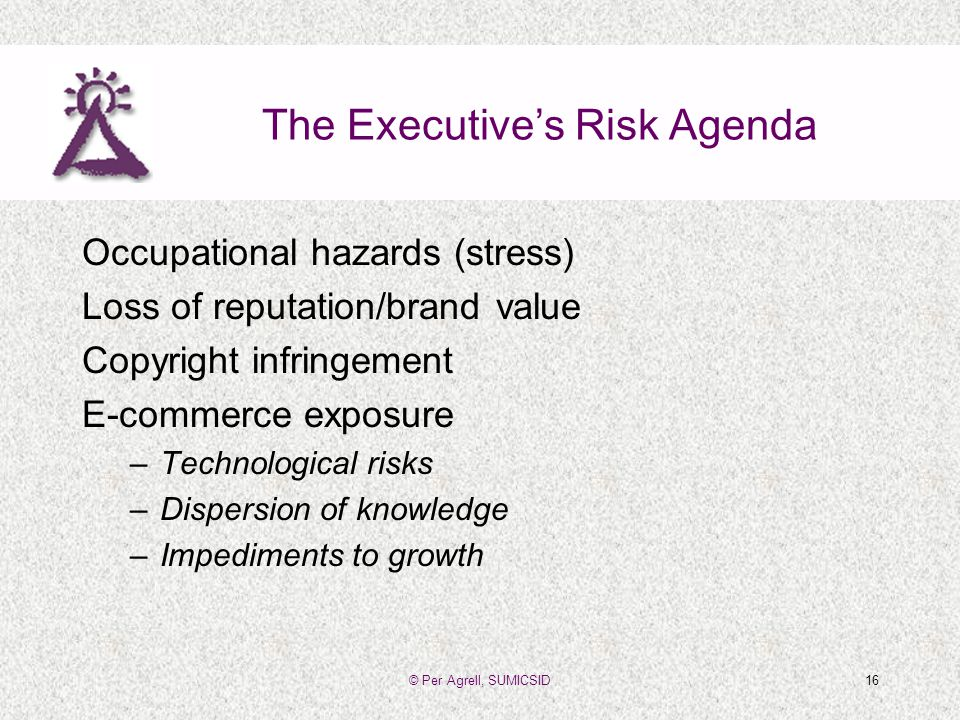 © Per Agrell, SUMICSID16 The Executives Risk Agenda Occupational hazards (stress) Loss of reputation/brand value Copyright infringement E-commerce exposure –Technological risks –Dispersion of knowledge –Impediments to growth