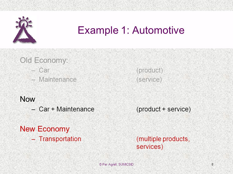 © Per Agrell, SUMICSID8 Example 1: Automotive Old Economy: –Car(product) –Maintenance(service) Now –Car + Maintenance(product + service) New Economy –Transportation(multiple products, services)