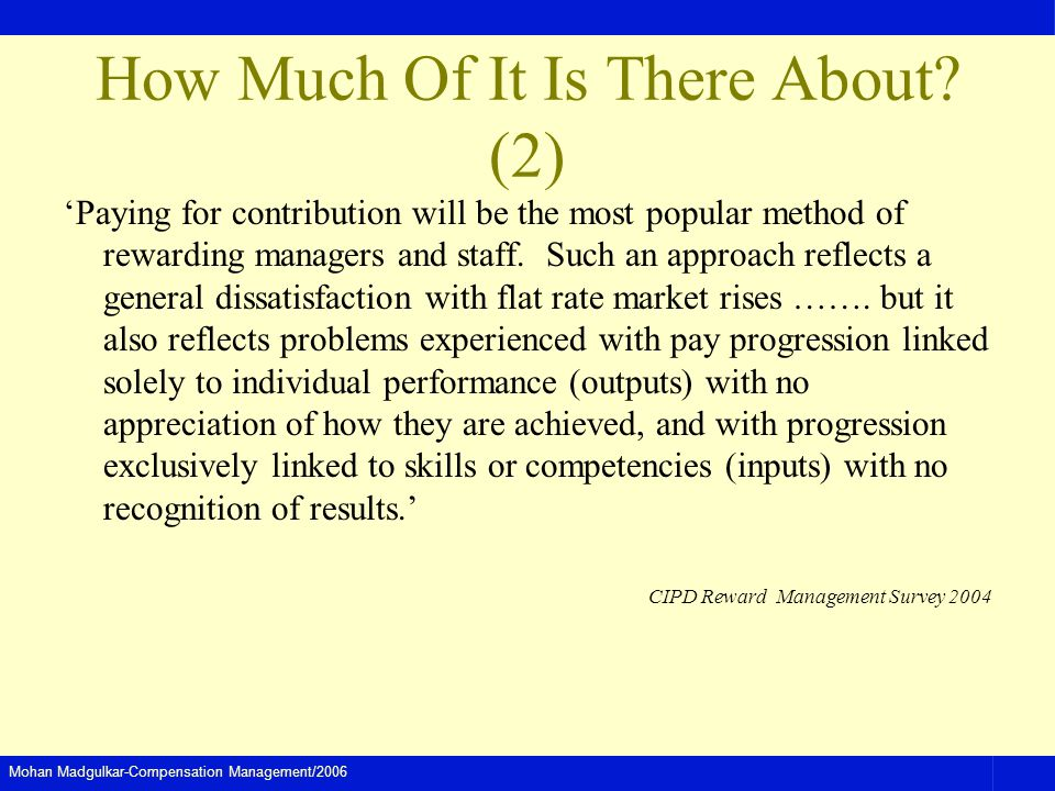 Mohan Madgulkar-Compensation Management/2006 How Much Of It Is There About.