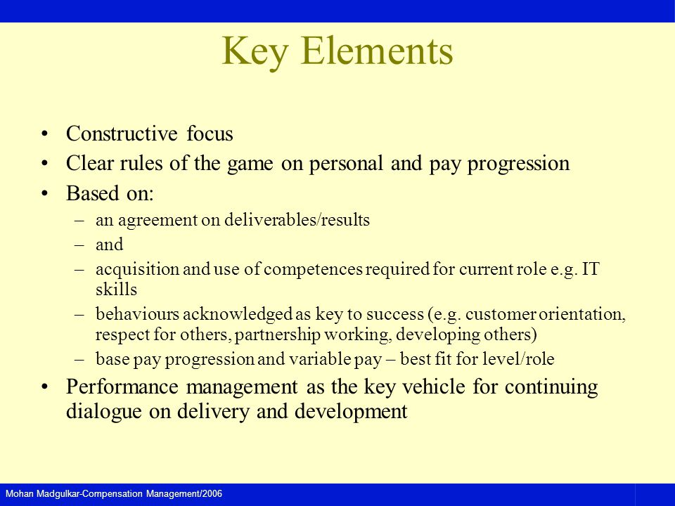 Mohan Madgulkar-Compensation Management/2006 Key Elements Constructive focus Clear rules of the game on personal and pay progression Based on: –an agreement on deliverables/results –and –acquisition and use of competences required for current role e.g.