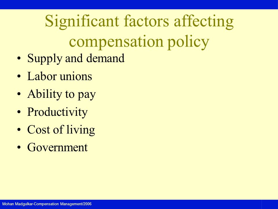 Mohan Madgulkar-Compensation Management/2006 Significant factors affecting compensation policy Supply and demand Labor unions Ability to pay Productivity Cost of living Government