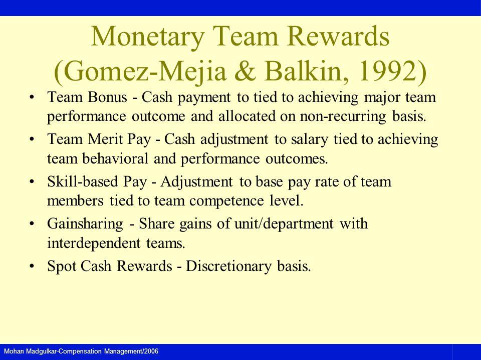 Mohan Madgulkar-Compensation Management/2006 Monetary Team Rewards (Gomez-Mejia & Balkin, 1992) Team Bonus - Cash payment to tied to achieving major t