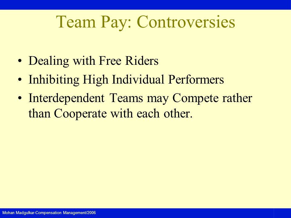 Mohan Madgulkar-Compensation Management/2006 Team Pay: Controversies Dealing with Free Riders Inhibiting High Individual Performers Interdependent Teams may Compete rather than Cooperate with each other.