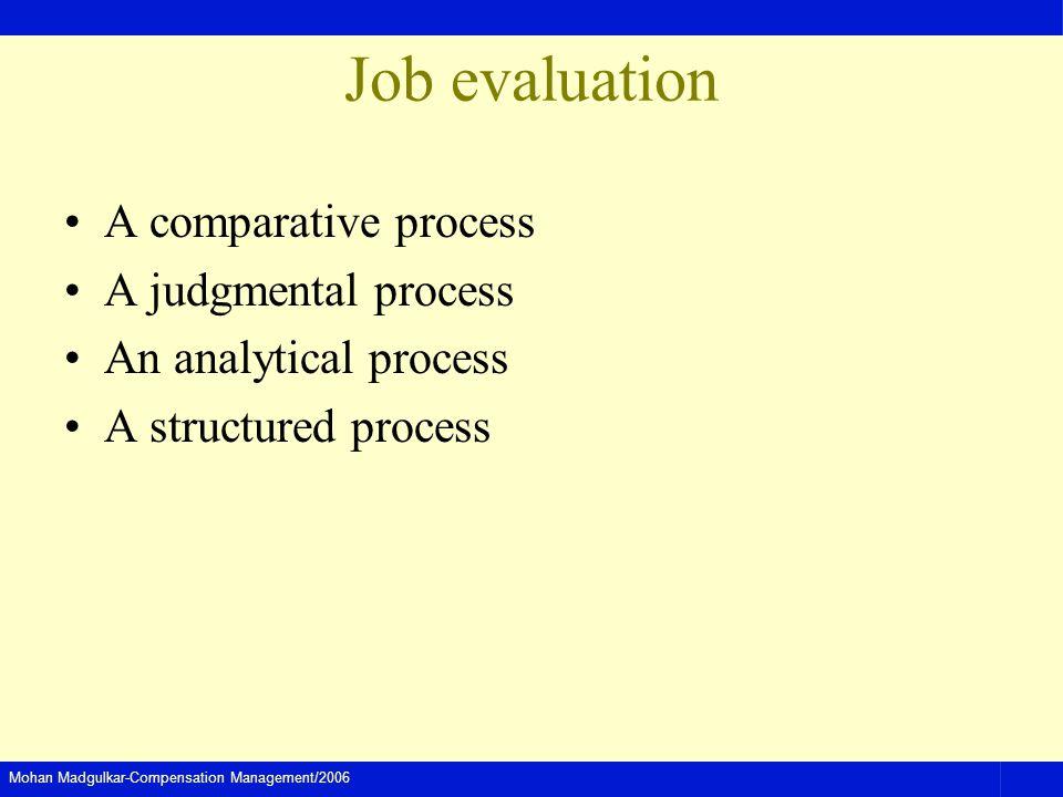Mohan Madgulkar-Compensation Management/2006 Job evaluation A comparative process A judgmental process An analytical process A structured process