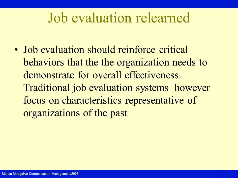 Mohan Madgulkar-Compensation Management/2006 Job evaluation relearned Job evaluation should reinforce critical behaviors that the the organization nee
