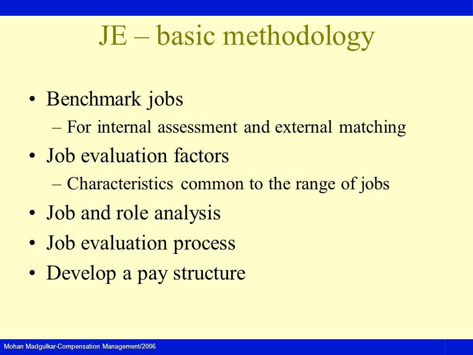 Mohan Madgulkar-Compensation Management/2006 JE – basic methodology Benchmark jobs –For internal assessment and external matching Job evaluation facto
