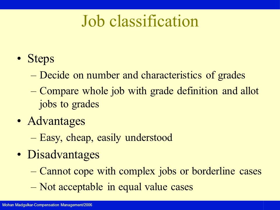 Mohan Madgulkar-Compensation Management/2006 Job classification Steps –Decide on number and characteristics of grades –Compare whole job with grade definition and allot jobs to grades Advantages –Easy, cheap, easily understood Disadvantages –Cannot cope with complex jobs or borderline cases –Not acceptable in equal value cases
