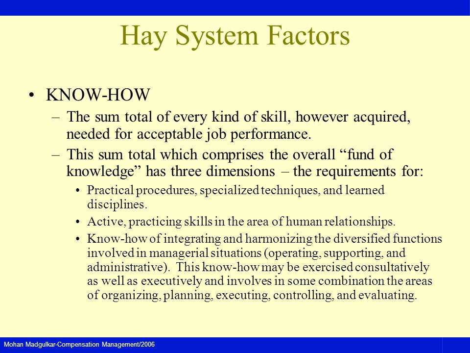Mohan Madgulkar-Compensation Management/2006 Hay System Factors KNOW-HOW –The sum total of every kind of skill, however acquired, needed for acceptabl