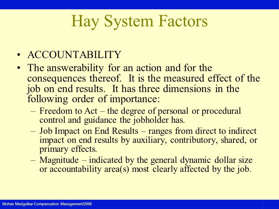 Mohan Madgulkar-Compensation Management/2006 Hay System Factors ACCOUNTABILITY The answerability for an action and for the consequences thereof. It is