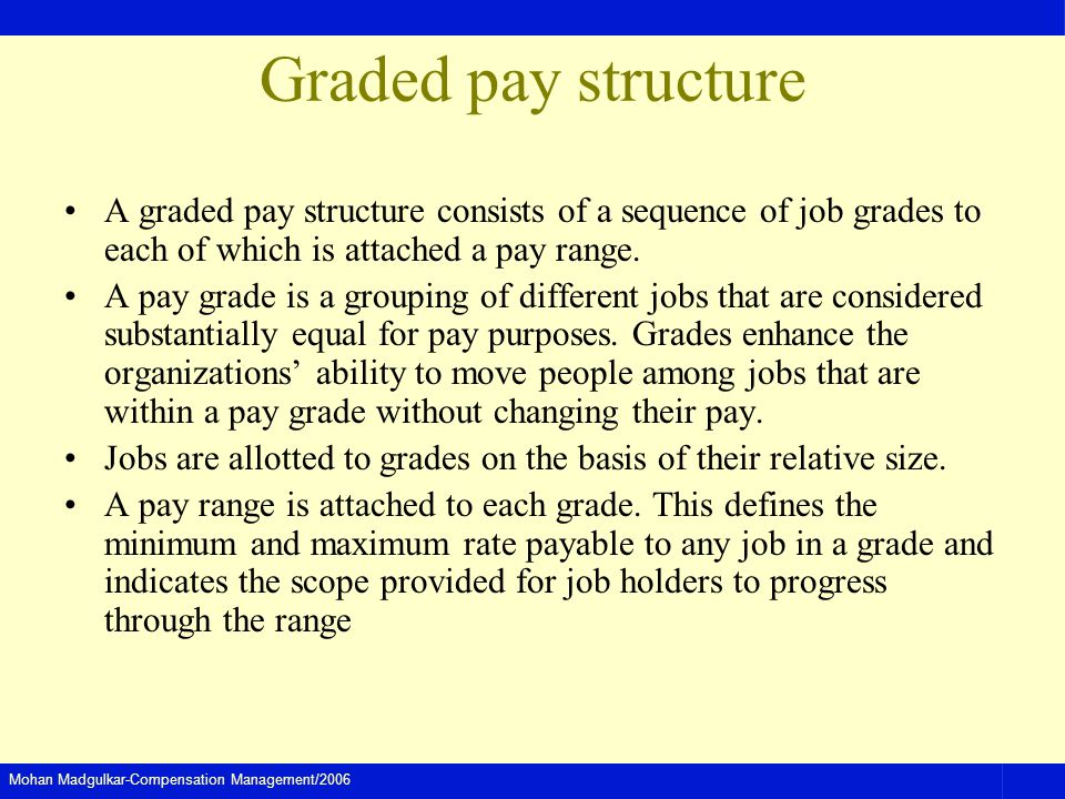 Mohan Madgulkar-Compensation Management/2006 Graded pay structure A graded pay structure consists of a sequence of job grades to each of which is attached a pay range.