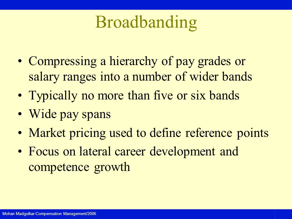Mohan Madgulkar-Compensation Management/2006 Broadbanding Compressing a hierarchy of pay grades or salary ranges into a number of wider bands Typicall