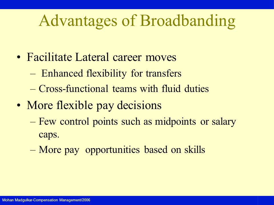 Mohan Madgulkar-Compensation Management/2006 Advantages of Broadbanding Facilitate Lateral career moves – Enhanced flexibility for transfers –Cross-fu