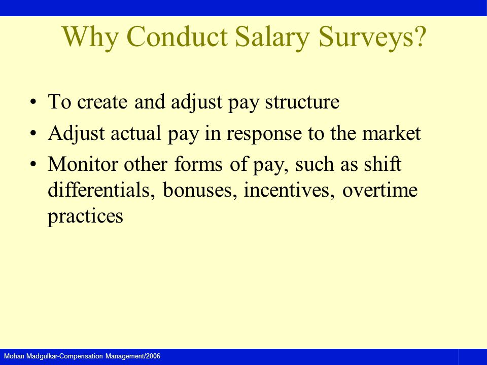 Mohan Madgulkar-Compensation Management/2006 Why Conduct Salary Surveys? To create and adjust pay structure Adjust actual pay in response to the marke