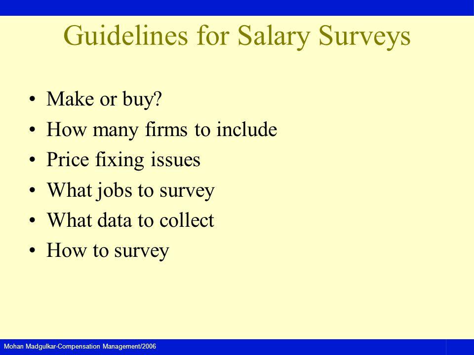Mohan Madgulkar-Compensation Management/2006 Guidelines for Salary Surveys Make or buy.
