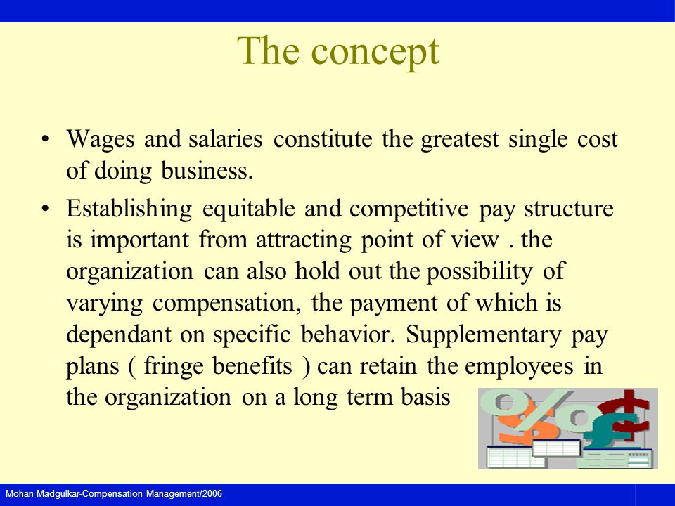 Mohan Madgulkar-Compensation Management/2006 The concept Wages and salaries constitute the greatest single cost of doing business. Establishing equita
