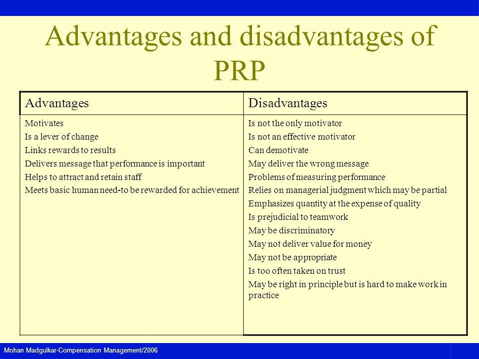 Mohan Madgulkar-Compensation Management/2006 Advantages and disadvantages of PRP AdvantagesDisadvantages Motivates Is a lever of change Links rewards