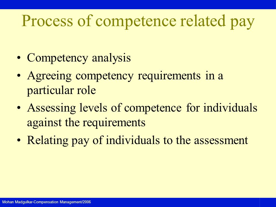 Mohan Madgulkar-Compensation Management/2006 Process of competence related pay Competency analysis Agreeing competency requirements in a particular role Assessing levels of competence for individuals against the requirements Relating pay of individuals to the assessment