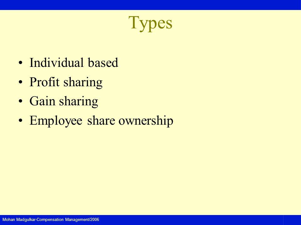 Mohan Madgulkar-Compensation Management/2006 Types Individual based Profit sharing Gain sharing Employee share ownership