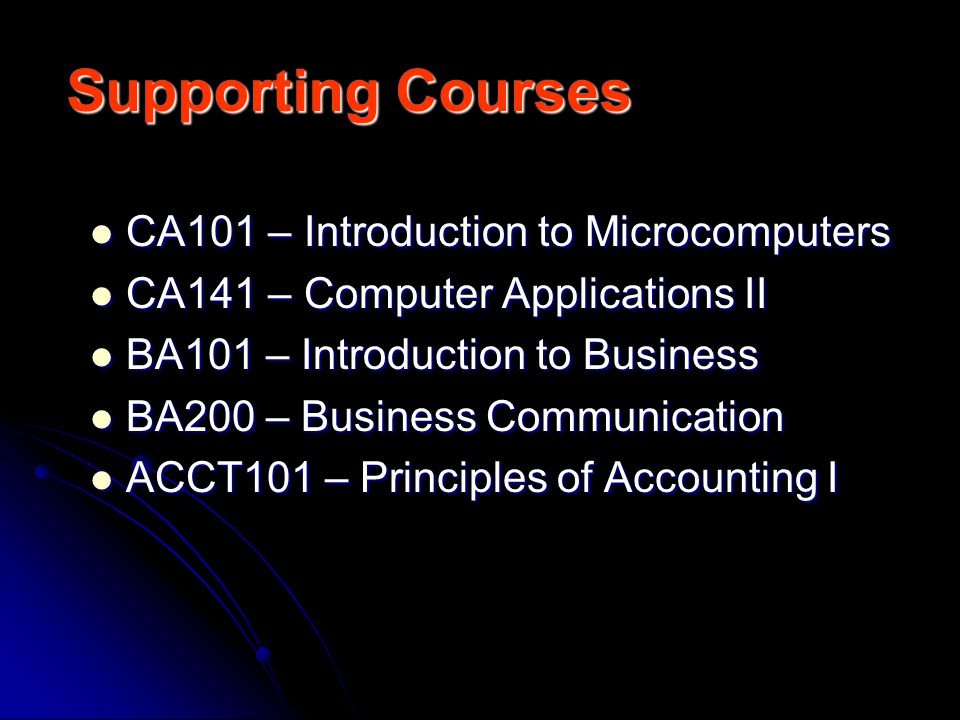 Supporting Courses CA101 – Introduction to Microcomputers CA101 – Introduction to Microcomputers CA141 – Computer Applications II CA141 – Computer Applications II BA101 – Introduction to Business BA101 – Introduction to Business BA200 – Business Communication BA200 – Business Communication ACCT101 – Principles of Accounting I ACCT101 – Principles of Accounting I