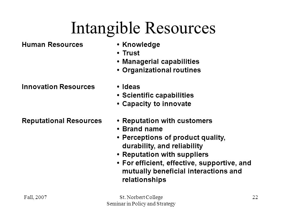 Fall, 2007St. Norbert College Seminar in Policy and Strategy 21 Tangible Resources Financial Resources The firms borrowing capacityThe firms ability t