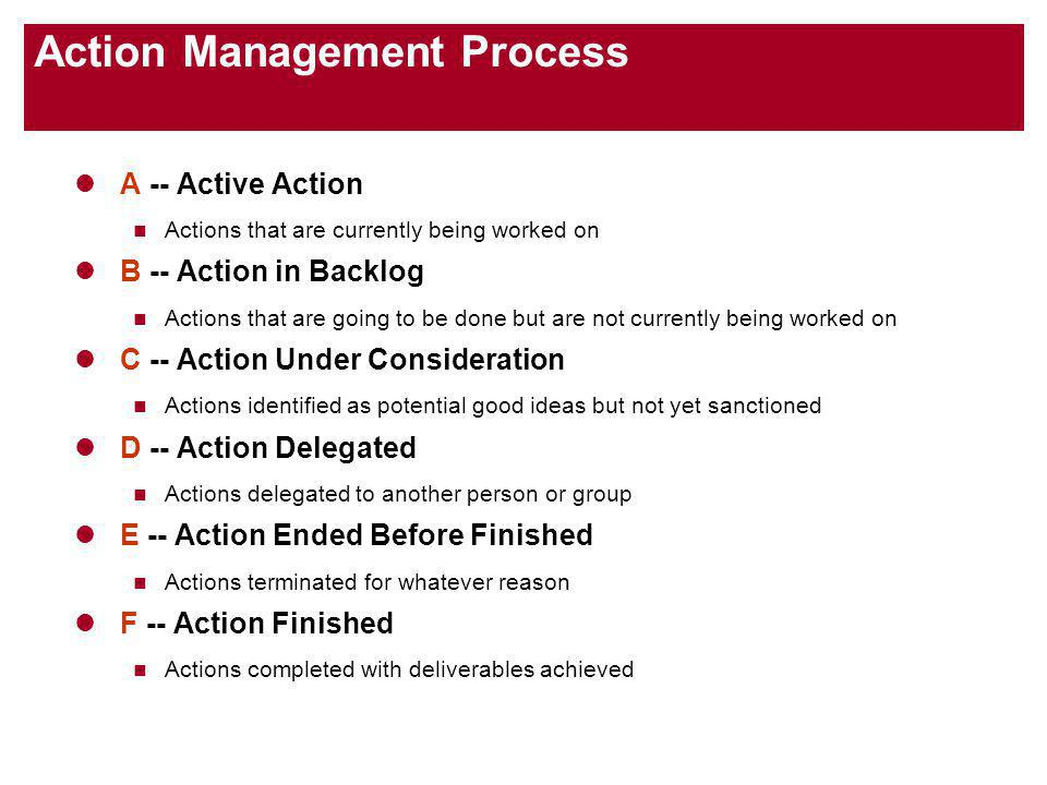 Action Management Process A -- Active Action Actions that are currently being worked on B -- Action in Backlog Actions that are going to be done but are not currently being worked on C -- Action Under Consideration Actions identified as potential good ideas but not yet sanctioned D -- Action Delegated Actions delegated to another person or group E -- Action Ended Before Finished Actions terminated for whatever reason F -- Action Finished Actions completed with deliverables achieved