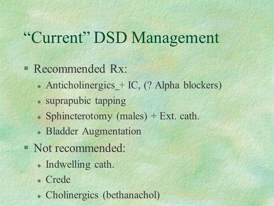 Current DSD Management §Recommended Rx: l Anticholinergics + IC, (.
