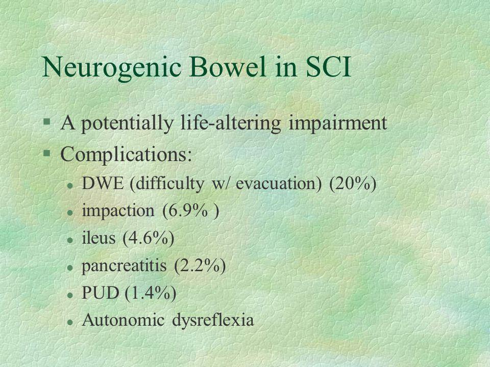 Neurogenic Bowel in SCI §A potentially life-altering impairment §Complications: l DWE (difficulty w/ evacuation) (20%) l impaction (6.9% ) l ileus (4.6%) l pancreatitis (2.2%) l PUD (1.4%) l Autonomic dysreflexia