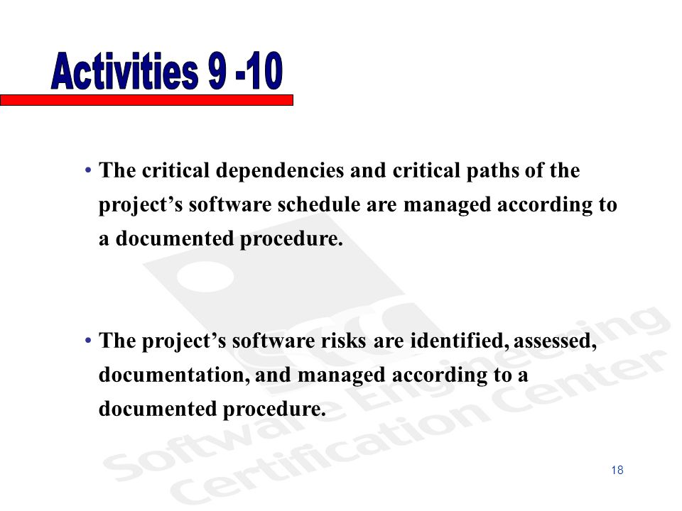 The critical dependencies and critical paths of the projects software schedule are managed according to a documented procedure.