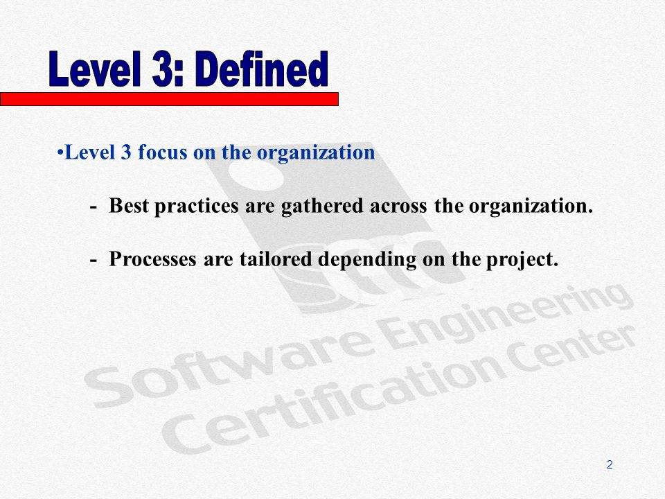 2 Level 3 focus on the organization - Best practices are gathered across the organization.