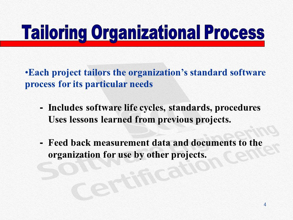 4 Each project tailors the organizations standard software process for its particular needs - Includes software life cycles, standards, procedures Uses lessons learned from previous projects.