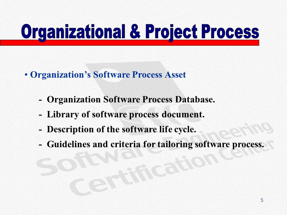 5 Organizations Software Process Asset - Organization Software Process Database.