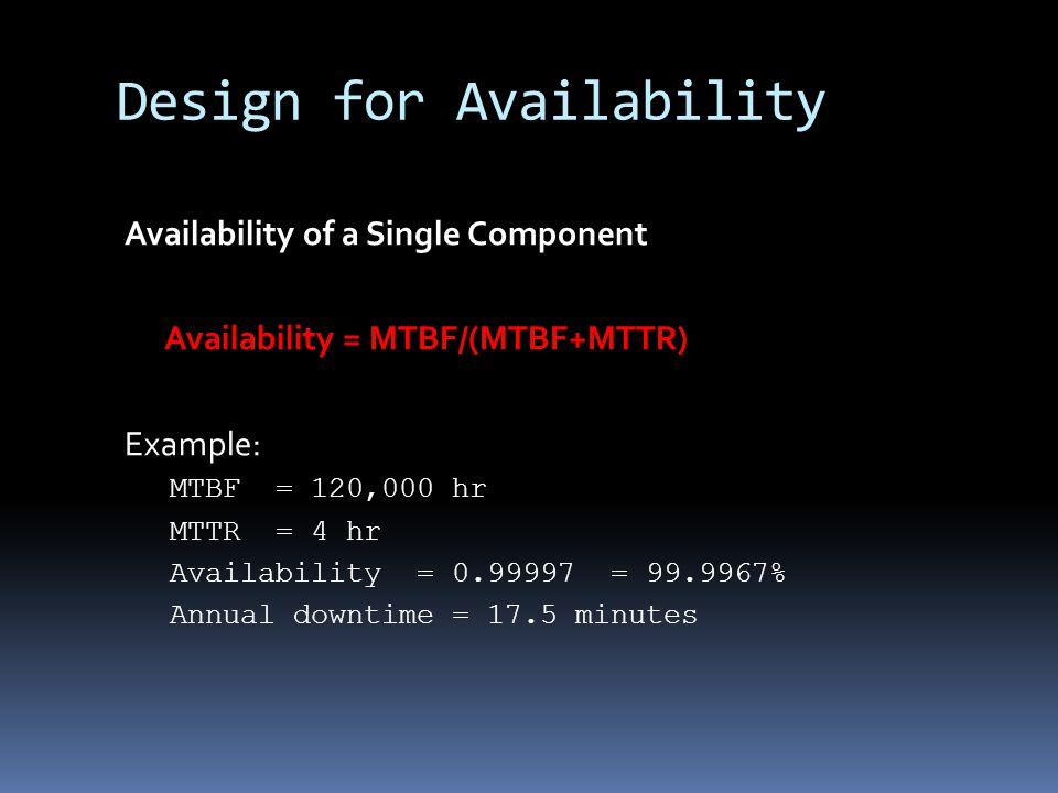 Design for Availability Availability of a Single Component Availability = MTBF/(MTBF+MTTR) Example: MTBF = 120,000 hr MTTR = 4 hr Availability = 0.99997 = 99.9967% Annual downtime = 17.5 minutes