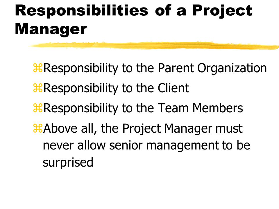 Responsibilities to the Parent Organization zConservation of resources zTimely and accurate project communications zCareful, competent management of the project zProtect the firm from high risk zAccurate reporting of project status with regard to budget and schedule