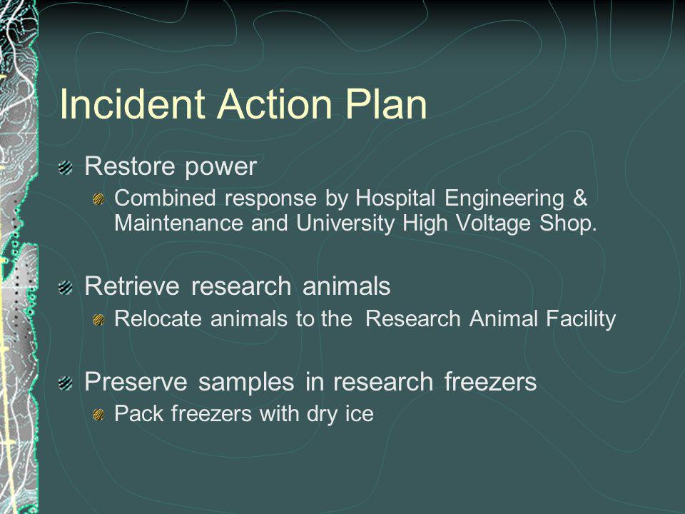 Incident Action Plan Restore power Combined response by Hospital Engineering & Maintenance and University High Voltage Shop.