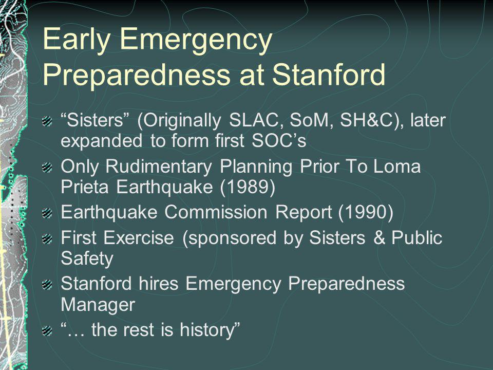 Early Emergency Preparedness at Stanford Sisters (Originally SLAC, SoM, SH&C), later expanded to form first SOCs Only Rudimentary Planning Prior To Loma Prieta Earthquake (1989) Earthquake Commission Report (1990) First Exercise (sponsored by Sisters & Public Safety Stanford hires Emergency Preparedness Manager … the rest is history