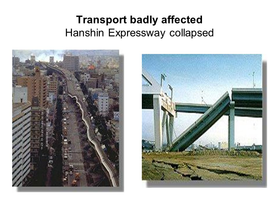 Transport badly affected Hanshin Expressway collapsed