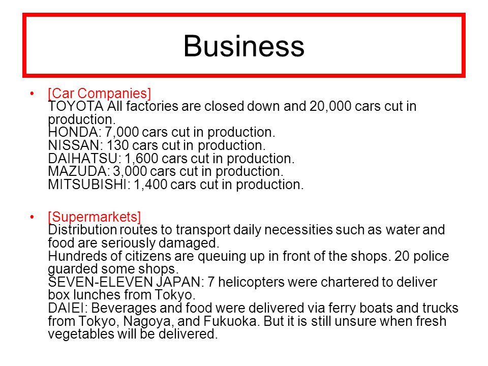 Business [Car Companies] TOYOTA All factories are closed down and 20,000 cars cut in production.