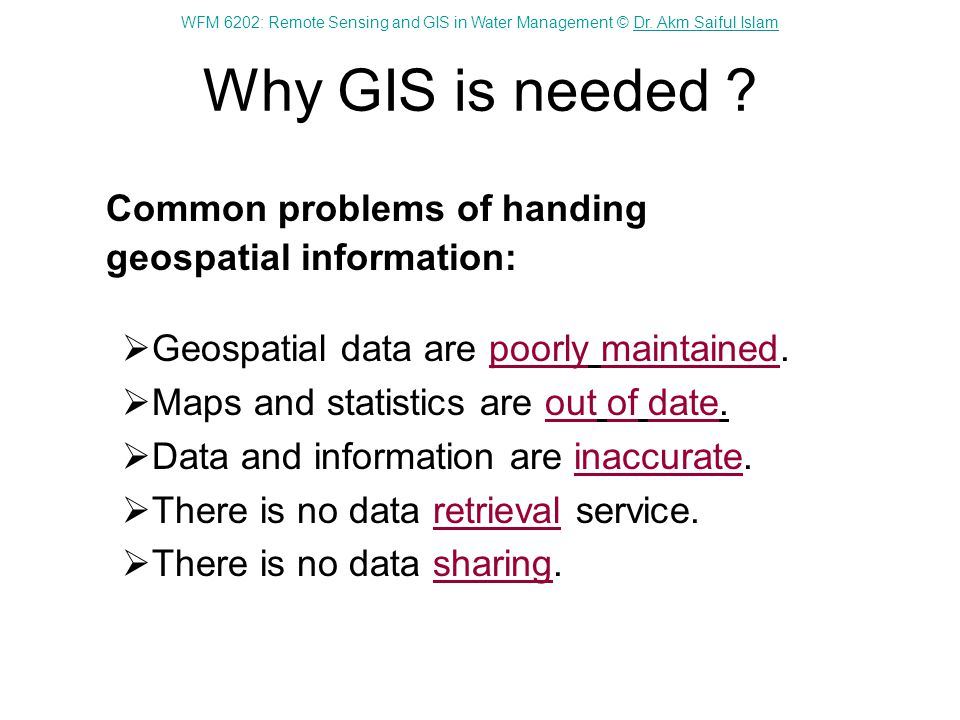 WFM 6202: Remote Sensing and GIS in Water Management © Dr. Akm Saiful IslamDr. Akm Saiful Islam Why GIS is needed ? Common problems of handing geospat